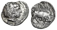 "Ancient Coins - Sicily, Herakleia (Kephaloedion) AR Litra ""Herakles & Bull Butting"" Rare VF"