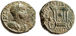 "Ancient Coins - Julia Paula AE25 ""Cart of Astarte, Sacred Baetyl Stone"" Phoenicia, Sidon Rare VF"