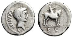 "Ancient Coins - Octavian AR Denarius ""Peacemaker Horseman, SC"" Gaul Mint 43 BC Very Rare"