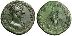 "Ancient Coins - Hadrian Dupondius 118 AD ""Annona on Prow, Modius"" Rome RIC 560b gVF"
