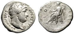 "Ancient Coins - Hadrian AR Denarius ""COS III Victory Seated"" Rome RIC 345 Fine"