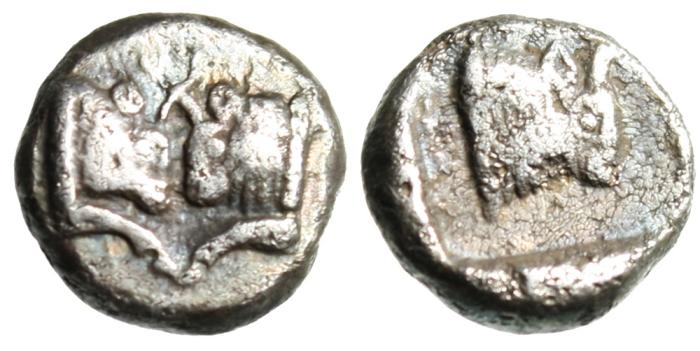 "Ancient Coins - Caria, Uncertain Silver Diobol ""Confronted Bull Heads & Bull Forepart"" Ext Rare"
