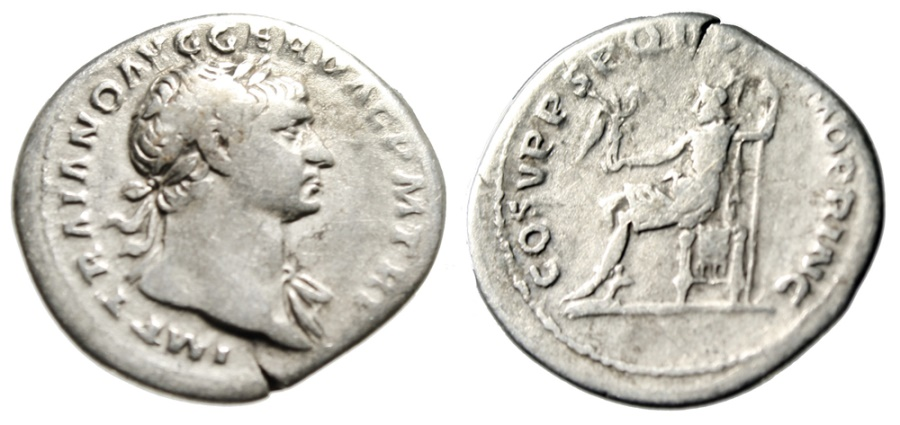 "Ancient Coins - Trajan AR Denarius ""OPTIMO PRINC Roma Seated"" Rome 103-111 AD Fine"