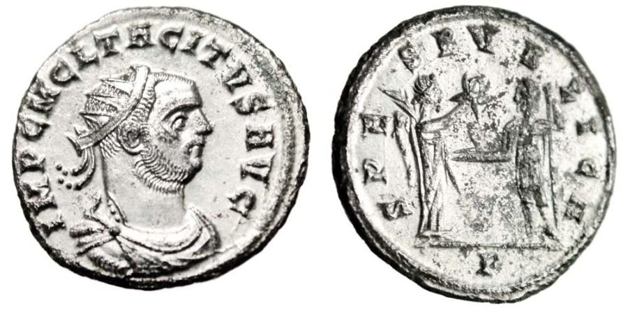 "Ancient Coins - Tacitus Silvered Antoninianus ""SPES PVBLICA Victory Crowning"" Cyzicus RIC 208 EF"