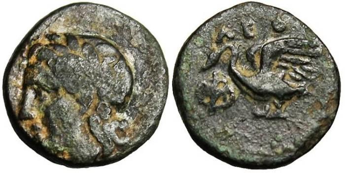 "Ancient Coins - Ionia, Leukai AE10 ""Apollo & Swan"" Rare"