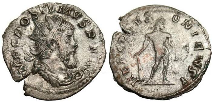 """Ancient Coins - Postumus, AR Ant. """"HERC DEVSONIENSI Hercules"""" Lyons RIC 64"""