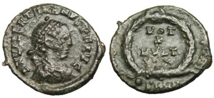 "Ancient Coins - Valentinian I, AE4 ""VOT X MVLT XX"" Heraclea SMHB RIC 19b Var VF"