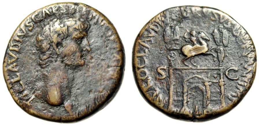 "Ancient Coins - Claudius I Sestertius ""Equestrian Statue Atop Triumphal Arch"" Rome 50-54 RIC 98"