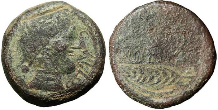 "Ancient Coins - Spain, Obulco AE28 ""L AMIL M IVNI Grain Plow"" Large 27g Flan"