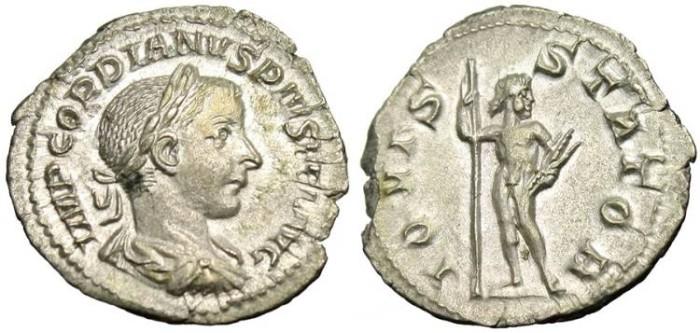 "Ancient Coins - Gordian III, AR Denarius ""IOVIS STATOR Jupiter"" Rome RIC 112 EF"