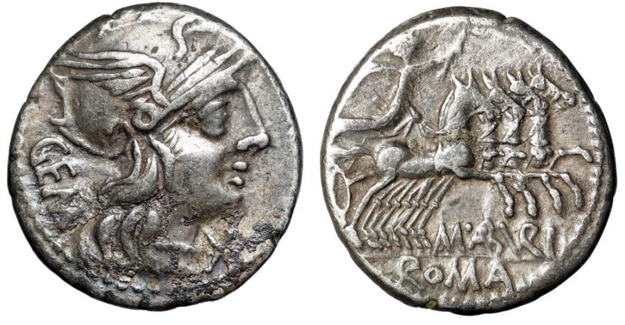 """Ancient Coins - C Aburius Geminus AR Denarius """"Helmeted Roma & Mars, Quadriga"""" 134 BC VF"""