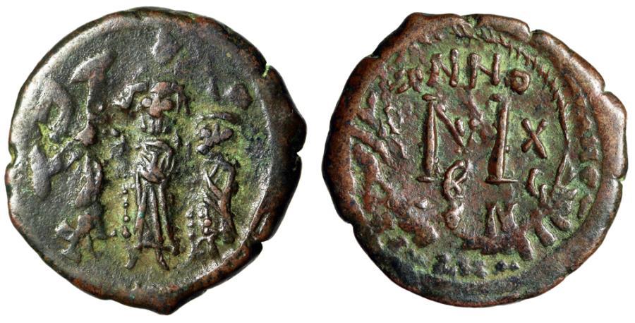 "Ancient Coins - Heraclius & Heraclius Constantine & Martina AE Follis ""Standing Facing"" Good VF"