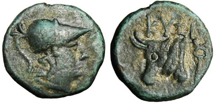 "Ancient Coins - Mysia, Kyzikos AE13 ""Athena & Head of Bull"" VF SNG Cop 64 Rare"