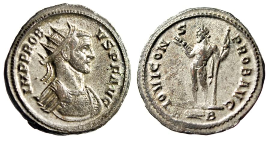 "Ancient Coins - Probus Silvered Antoninianus ""IOVI CONS PROB AVG  Jupiter"" RIC 173 gVF"