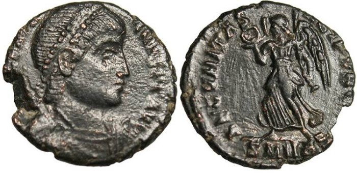 """Ancient Coins - Valentinian I, AE3 """"Victory"""" Heraclea RIC 5 Rare VF"""
