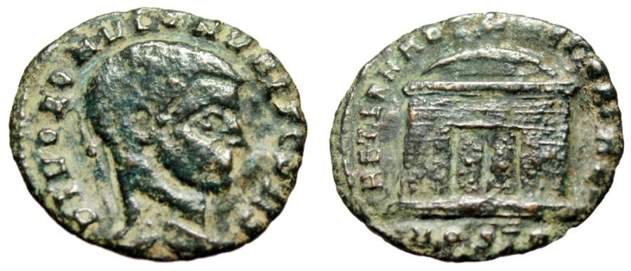 """Ancient Coins - Romulus AE Follis """"AETERNAE MEMORIAE Domed Temple"""" Ostia Under Maxentius Rare"""