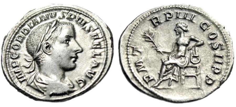 "Ancient Coins - Gordian III AR Denarius ""Apollo Seated on Lyre, Branch"" 240 AD About EF"
