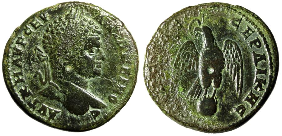 "Ancient Coins - Caracalla AE30 ""Eagle, Wings Spread Atop Globe"" Thrace, Serdica Beautiful Patina"