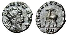 "Ancient Coins - Gallienus AE Antoninianus ""DIANAE CONS AVG Antelope"" Rome RIC 181 EF Zoo Series"