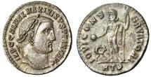 "Ancient Coins - Maximinus II Silvered Follis ""IOVI CONSERVATORI Jupiter"" Heraclea RIC 66 nEF"