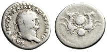 "Ancient Coins - Divus Vespasian AR Denarius ""Two Capricorns, Conjoined in Orb"" Under Titus"