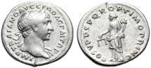"Ancient Coins - Trajan AR Denarius ""Aequitas, Deity of Equal Measure & Balance"" Rome Good Fine"