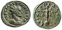 "Ancient Coins - Carus AE Antoninianus ""VICTORIA AVGG Victory on Globe, Captives"" Lyons RIC 24"