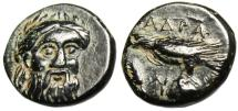 "Ancient Coins - Mysia, Adramyteion AE12 ""Zeus Facing & Eagle on Rock"" Rare Choice EF"