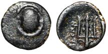 """Ancient Coins - Boeotia, Federal Coinage AE 13 """"Boeotian Shield & Trident, Dolphin"""" Good Fine"""
