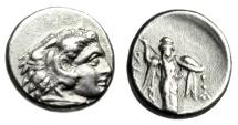 "Ancient Coins - Mysia, Pergamon Silver Diobol ""Herakles & Archaistic Palladion, Athena"" Good VF"