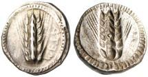 "Ancient Coins - Lucania, Metapontion Silver AR Stater ""ATEM Barley Grain / Incuse"" BMC 23 Rare"