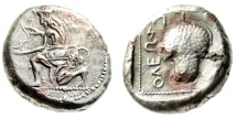 """Ancient Coins - Cilicia, Soloi Fouree (Contemporary Imitation) Stater """"Amazon Kneeling & Grapes"""" Near EF"""