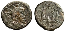"Ancient Coins - Postumus AE Sestertius ""LVITIIA Galley, Five Oarsmen"" Bastien 313 Rare Good VF"