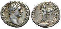 "Ancient Coins - Domitian AR Denarius ""Minerva, Rostral Column & Owl"" 88-89 AD RIC 668 VF"