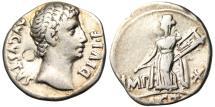 "Ancient Coins - Augustus Silver AR Denarius ""Apollo Citharoedus with Lyre"" Lyons RIC 171a VF"