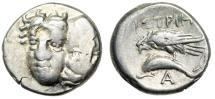 """Ancient Coins - Moesia, Istros AR Drachm """"Male Heads, One Inverted & Eagle on Dolphin"""" Fine"""