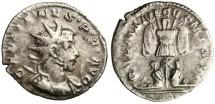 "Ancient Coins - Gallienus AR Ant. ""GERMANICVS MAX V Captives, Trophy"" RIC 18 VF"