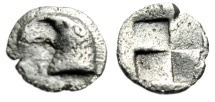 "Ancient Coins - Aeolis, Kyme AR Hemiobol ""Head of Eagle, K / Quadripartite Incuse"" 450-400 BC VF"