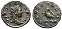 "Ancient Coins - Divo Caro (Carus) AE Antoninianus ""CONSECRATIO Eagle"" Lyons Mint Posthumous 283 AD EF"