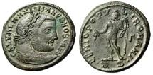 """Galerius Caesar AE Follis """"GENIO POPVLI ROMANI Genius"""" Thessalonica RIC 26b VF"""