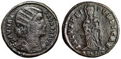 "Ancient Coins - Fausta (Wife of Constantine) AE20 ""Empress Facing, Two Infants"" Arles Very Rare"