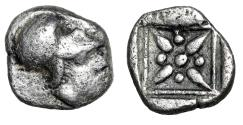 "Ancient Coins - Troas, Possibly Kolone AR Hemiobol ""Helmeted Athena & Stellate Incuse Pattern"""