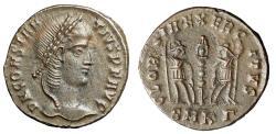 """Ancient Coins - Constantius II """"GLORIA EXERCITVS Soldiers"""" Cyzicus RIC 31 Near EF"""