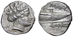 "Ancient Coins - Macedonia: Philip V to Persues AR Tetrobol ""Maenad & Prow of Galley"" EF"