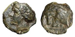 "Ancient Coins - Sicily, Abakainon AE Tetras ""Nymph & Forepart of Bull Facing"" Rare"