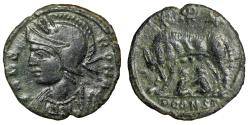 """Ancient Coins - Rome City Commemorative """"She Wolf, Twins, Chi-Rho Christogram' Arles gVF"""
