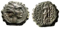 "Ancient Coins - Seleukid Kingdom: Antiochos IV Epiphanes Serrated AE13 ""Radiate & Goddess"" gVF"