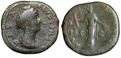 "Ancient Coins - Diva Faustina I AE Sestertius ""AVGVSTA Ceres, Short Torch"" Rome 141 AD RIC 1118"