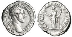 "Ancient Coins - Commodus AR Denarius ""Pax"" RIC Unlisted Die Combination 181-182 AD Rare"