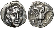 """Ancient Coins - Caria, Rhodes AR Drachm """"Helios Facing & Rose, Grape Cluster"""" Stasion Magistrate"""